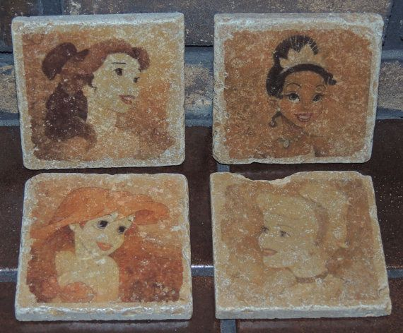 Vintage Disney Princess Tumbled Marble Tile by ArtCFartCStudios, $32.00