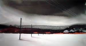 Dagens første akvarell er et bilde av stolper i isen, med en ...