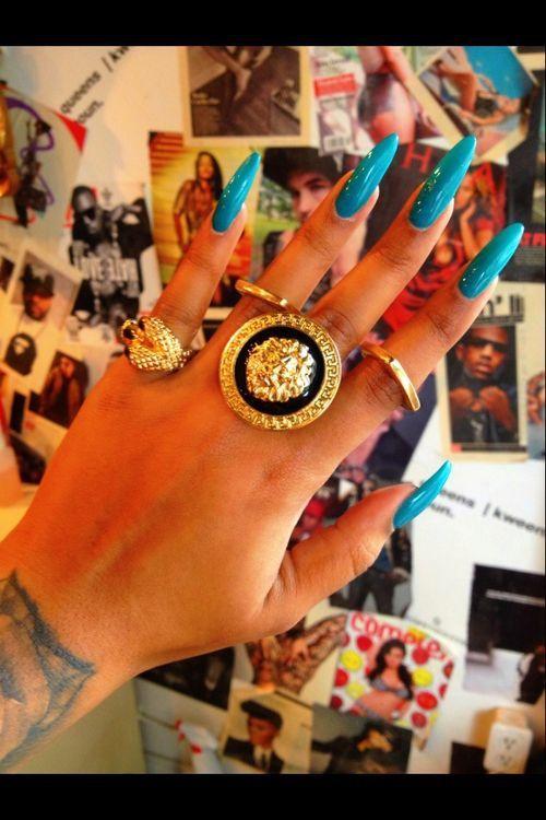 indian design nail индийский маникюр длинные миндальные ногти бирюзового цвета