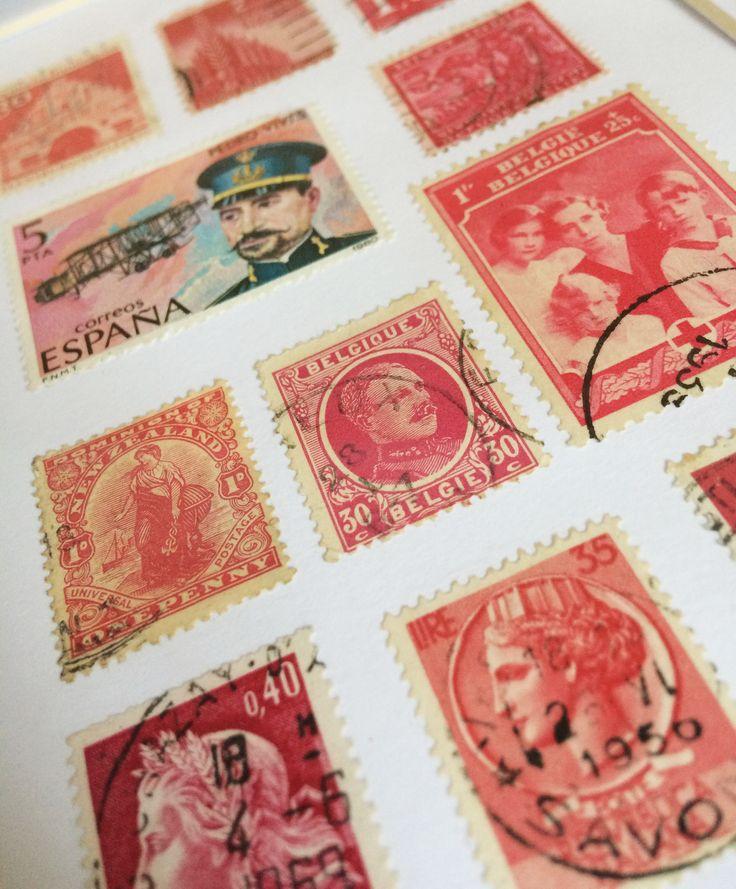 Vintage Framed Stamp Wall Art - Pink
