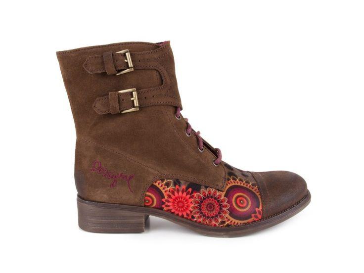Desigual - Kožené kotníkové boty, na nízkém podpatku SHOES DESTROYER 2 / hnědá | obujsi.cz - dámská, pánská, dětská obuv a boty online, kabelky, módní doplňky