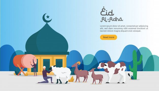 Islamic Concept For Happy Eid Al Adha Or Sacrifice Celebration Event Seni Islamis Spanduk Ilustrasi