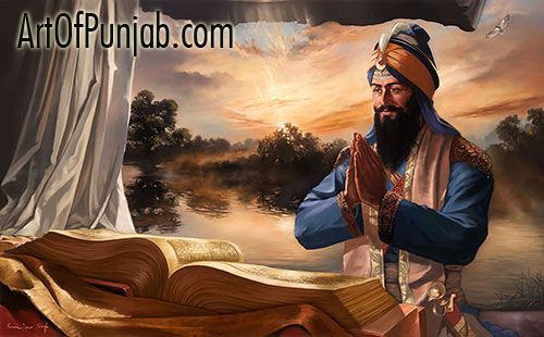 The Eternal Guru paintings by Kanwar Singh.  Fine Art prints available starting at $70 CAS.  All canvas prints starting at $325 CAD. #SikhArt #sikhpainting #sikhgifts #guru #gurugobindsingh #modernsikhart #sikhism #artofpunjab #kanwarsingh