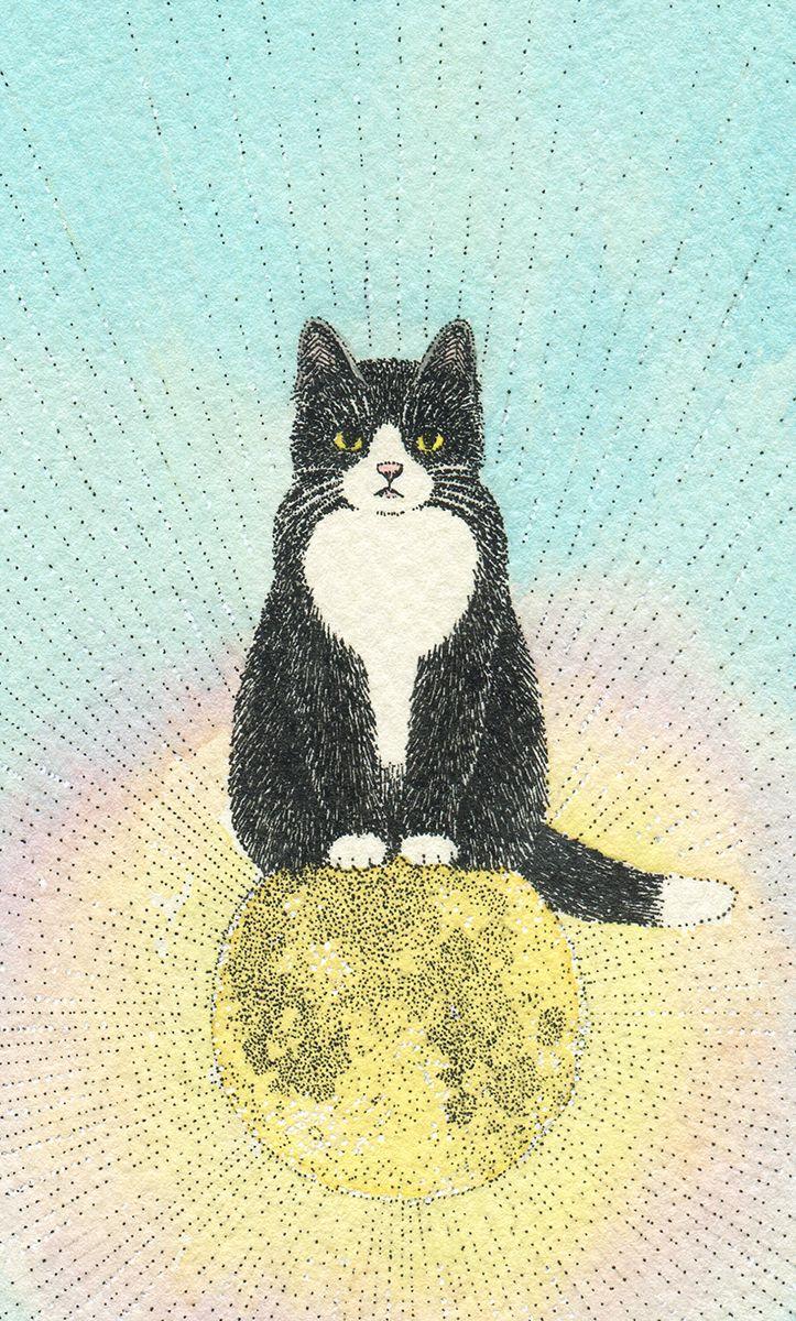 ふわふわ春の宵。 #Illustration #illust #cat #moon