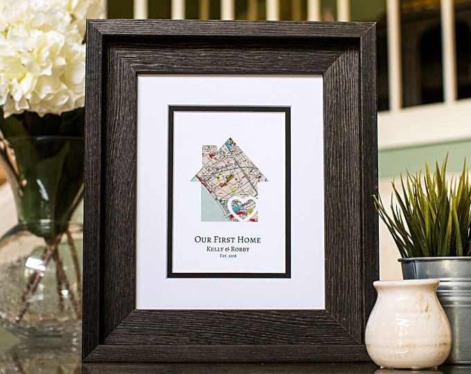 Our First Home, New Home Housewarming Gift, Personalized Map, Realtor Closing Gift, Latitude Longitude, New Homeowner, New Homeowners Gift