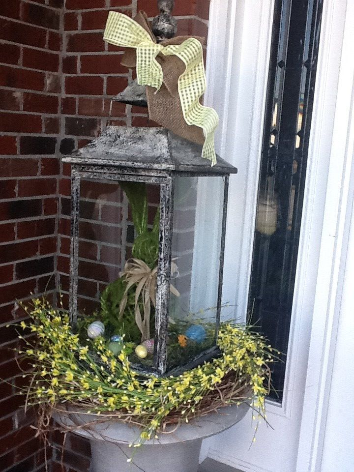Front Porch Lantern w/Bunny. Spring/Easter.: Decor, Idea, Bunny, Ribbons, Spring Wreaths, Bunnies, Add, Lanterns, Spring Easter