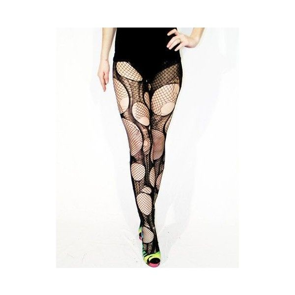 Accessorize Agoraphobix double layered tattered torn tights fishnet... ❤ liked on Polyvore featuring intimates, hosiery, tights, distressed leggings, ripped leggings, torn pants, fishnet pants and star print pants