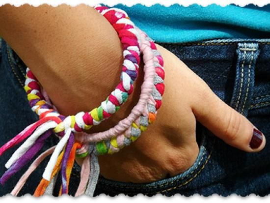 Cool project from http://www.kiwicrate.com/projects/Make-Bracelets-from-Recycled-T-shirts/1510: Make Bracelets from Recycled T-shirts
