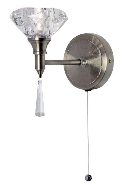 Sahar Antique Brass Crystal Pull Cord Wall Light