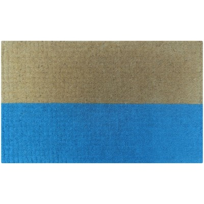 "Color blocked doormat from Interiors Online (it's called the ""half blue doormat"" but that sets off my literalism radar). With the blue stripe at the top, it would remind me of the beach, too."