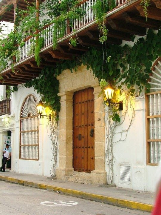 Main facade of a 17th century spanish colonial house, Cartagena de Indias