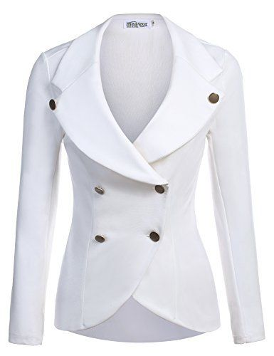 New Trending Pants: Meaneor Womans Basic One-Buckle Solid Slim Fit Blazer w/ Pockets White/M. Meaneor Woman's Basic One-Buckle Solid Slim Fit Blazer w/ Pockets White/M   Special Offer: $31.99      388 Reviews Meaneor Women's Slim Fit Blazer Casual Work Double Breasted Stretchy Peplum Crop JacketMaterial:95% Polyester and 5% Spandex. Stretchable and Soft fabric for...