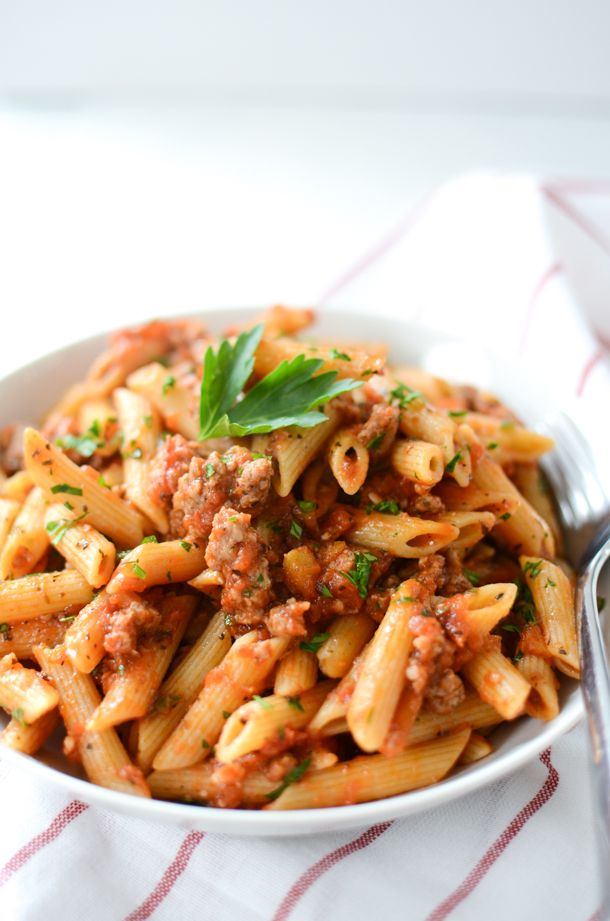 Whole Wheat Penne with Italian Sausage Tomato Sauce | Whole Wheat Pasta Recipe…
