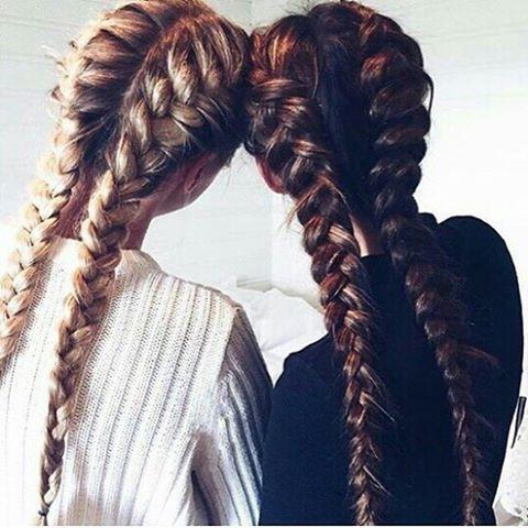 Inspiración para mañana. Cosas que solo las #BFF entenderán. ❤️ #trenzas #peinados #braids #boxerbraids #mejoresamigas