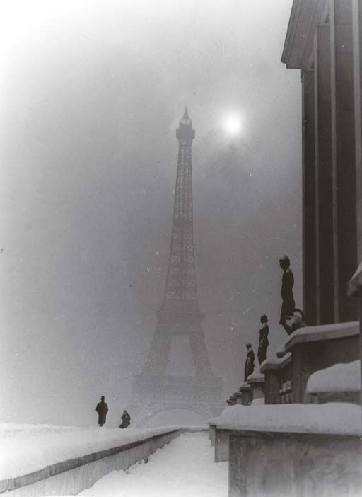 Eiffel Was Misty in The Snow    Untitled (Eiffel Tower), 1950's, Maurice Tabard. (1897 - 1984)