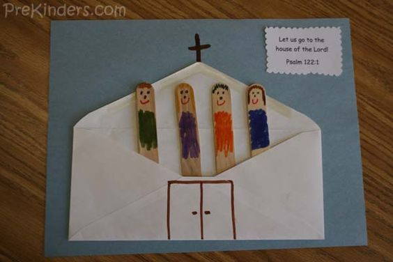 """Could adapt to teach church is people not building.   Glue an envelope, with the flap open, onto a piece of light blue construction paper. This makes a church. Draw a cross at the top, and add a door. Draw faces with thin markers on about 4 craft sticks. Tuck the stick people into the envelope """"church"""".  Add the verse: """"Let us go to the house of the Lord!""""  (Psalm 122:1)"""