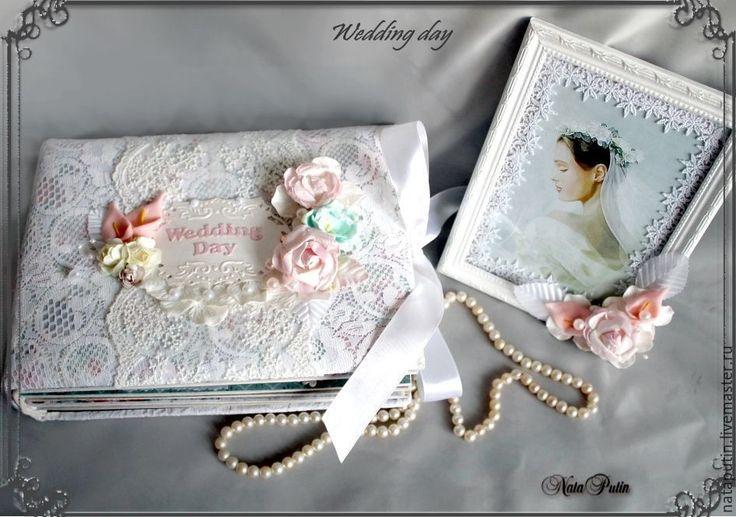 """Купить Свадебный комплект """"Wedding day"""" Альбом и рамка для фото - белый, свадьба"""