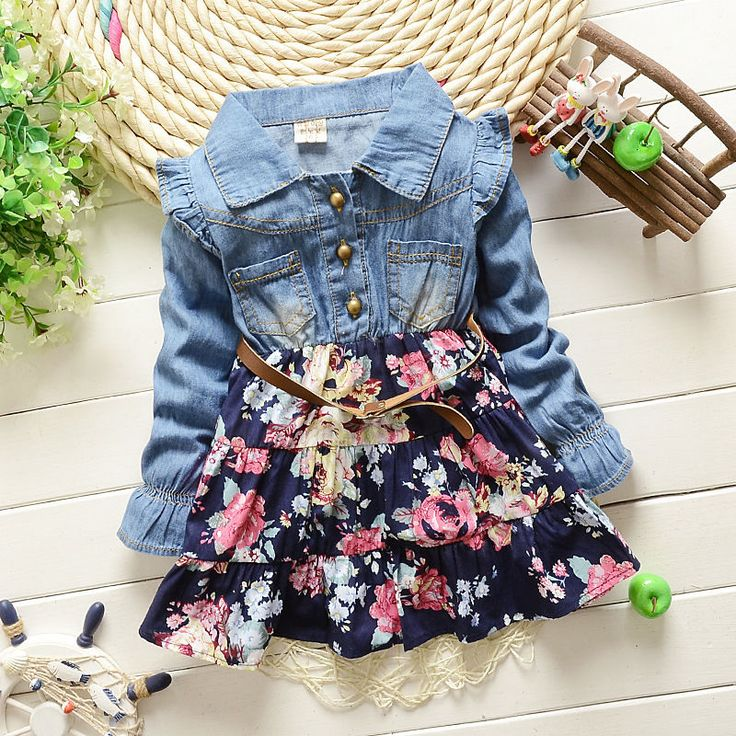 Baby Girl Dresses Denim T-shirts Girls Floral Clothes Ruffles Long Sleeve 1-4 T #babygirldresses #everyday