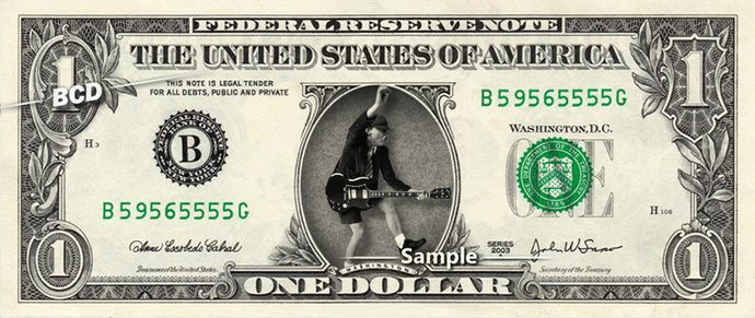 Angus Young ACDC – Real Dollar Bill Cash Money Collectible Memorabilia Celebrity Novelty Bank