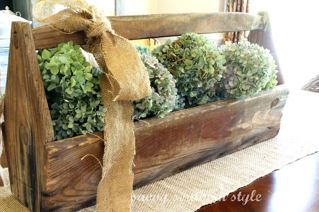 Savvy Southern Style: Vintage tool box with hydrangeas