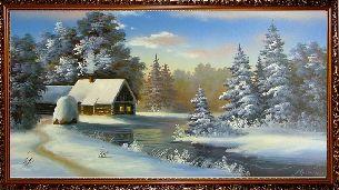 Зимний домик у реки - Зимний пейзаж <- Картины маслом <- Картины - Каталог | Универсальный интернет-магазин подарков и сувениров