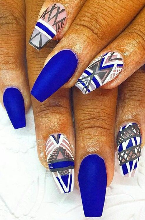 Royal blue matte tribal Aztec nails design