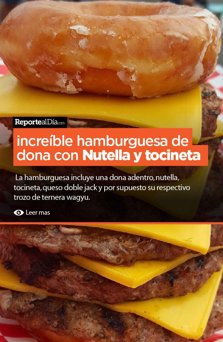 La #hamburguesa incluye una #dona adentro, #nutella, #tocineta, queso doble jack y por supuesto su respectivo trozo de ternera wagyu.  #burger #cocina #recipe #receta