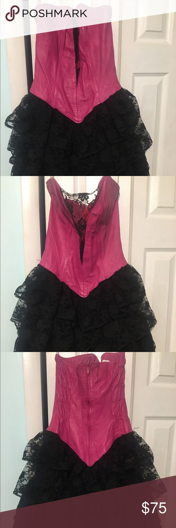 Vintage 80's prom dress 100% leather vintage 80's dress  Great condition fits a size Small Dresses Strapless