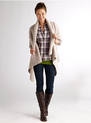 nice, but doable?: Fall Style, Chunky Sweaters, Fall Wins, Fall Outfits, Fall Looks, Fall Fashion, Plaid Shirts, Cozy Sweaters, Boots