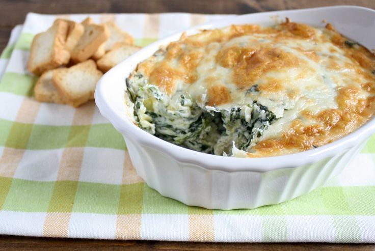 Skinny Spinach Artichoke Dip - Live Well Bake Often. Super cheesy and ...