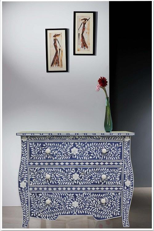 Curved Blue Bone Inlay Chest of Drawer/Dresser
