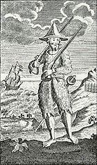 Engraving of Robinson Crusoe standing on the shore of an island, dressed in hair-covered goatskin clothing, which would have been too hot for a Caribbean island but just right for a Chilean island like Mas a Tierra.