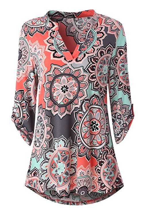 489ee31db483f Zattcas Womens Floral Printed Tunic Shirts 3 4 Roll Sleeve Notch Neck Tunic  Top at Amazon Women s Clothing store