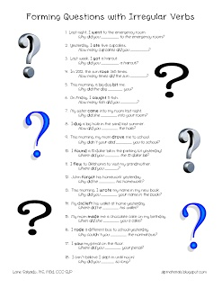 FREE!  Ms. Lane's SLP Materials: Questions with Irregular Verbs