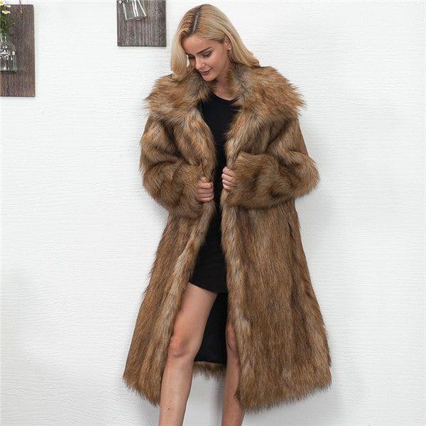 Manteau avec capuche imitation fourrure marron femme   Morgan