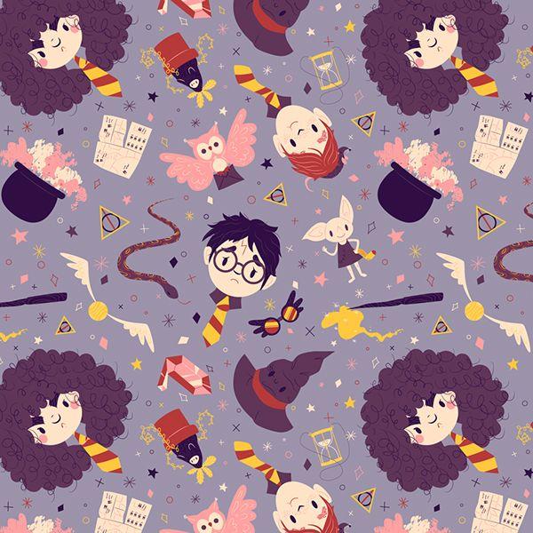 Harry Potter Pattern by Laura Langston on Behance #fanart #harrypotter
