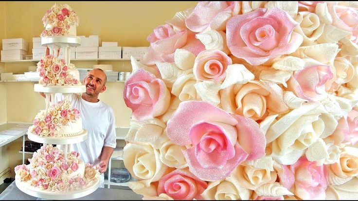HOW TO MAKE FONDANT ROSES FOR WEDDING CAKES - Cake decorating free tutorial for beginners
