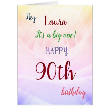 Large Happy 90th Birthday Design Greeting Card