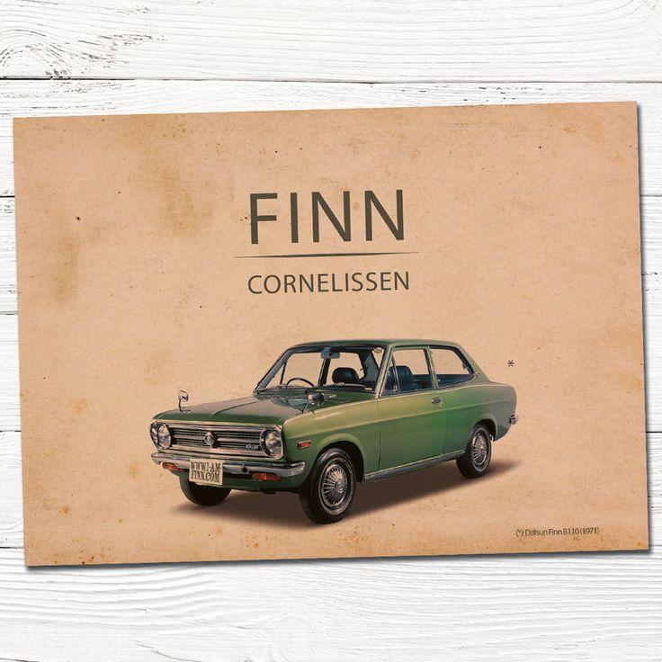 Geboortekaartjes vintage auto | design op maat | grafisch | ontwerp | babykaartjes | kraft | jongen