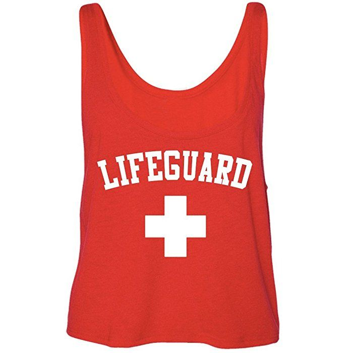 Lifeguard Halloween Costume Idea for Women and Teens- Red Lifeguard Crop Top (Small)