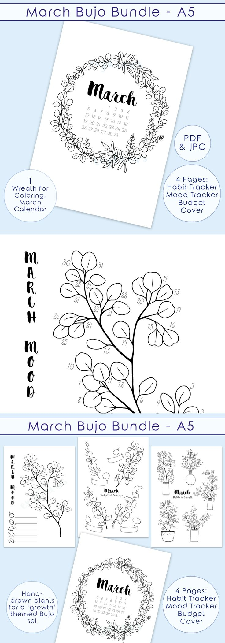 A bullet journal PRINTABLE kit for March - a monthly planner pages set inspired by eucalyptus plants and wreath drawings for coloring.   Cover Page | Habit Tracker | Mood Tracker | Savings Tracker  ... with my hand-drawn art to give a unique spring flair to your journaling practice this month. :)  I really love plant growth as a metaphor for personal growth, so I created a new set of printable journaling pages with a nature & plants theme! Click through the example images to see how each…