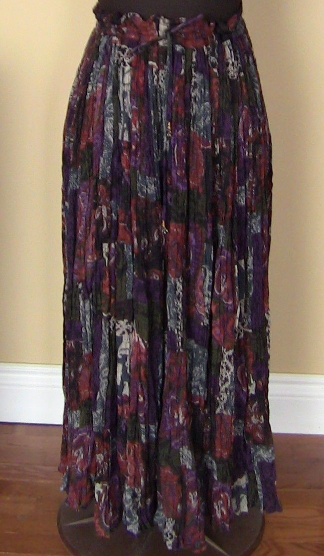 Colorful Broomstick Skirt Beautiful Multi Color Earth Tones Floor Length Fashion | eBay