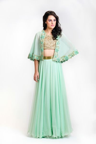 mint and gold cape top with lehenga skirt , mint colored drape silhouette