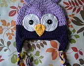 Baby, Toddler, Child, light Purple and dark Purple, Crocheted Owl Hat perfect for photos