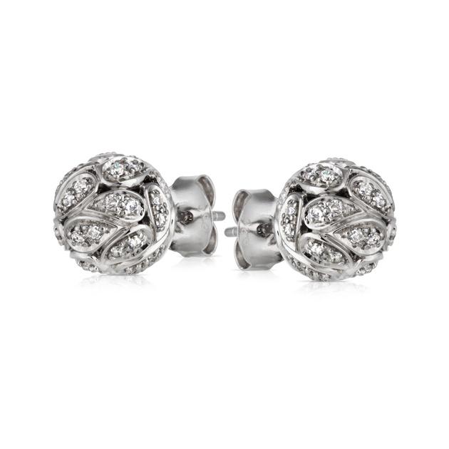 Sterling Silver Round Brilliant Cut Diamond Earring