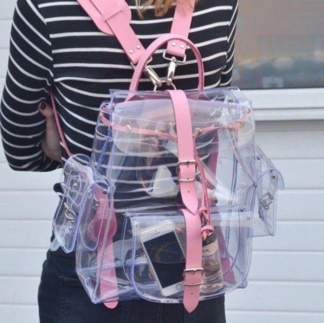 Transparent hologram bag trend multicolor laser backpack school blog