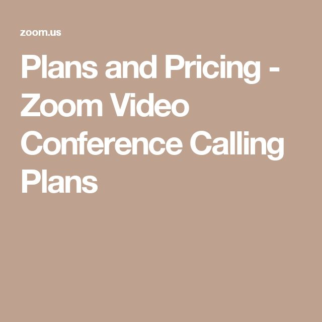 Plans and Pricing - Zoom Video Conference Calling Plans