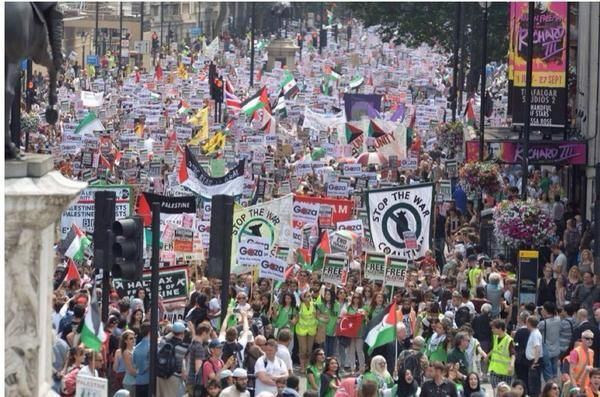 Thousands march in London today protest the conflict in Gaza and the biased reporting by the BBC July 19, 2014