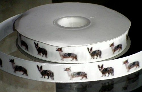 "This listing is for 2 continuous yards of 7/8"" wide white grosgrain or double faced satin ribbon (you choose, just memo which one when checking out) with pictures of a Cardigan Welsh Corgi printed on"