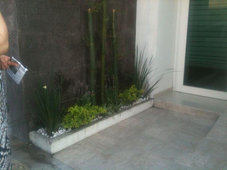 Jardines peque os con bambu y piedra blanca exteriores for Decoracion de jardines pequenos exteriores